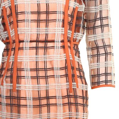 line pointed check pattern dress